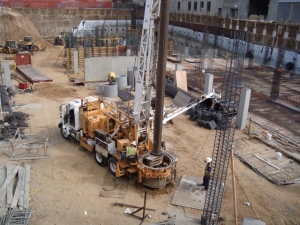 Drill Rig In Excavated Area